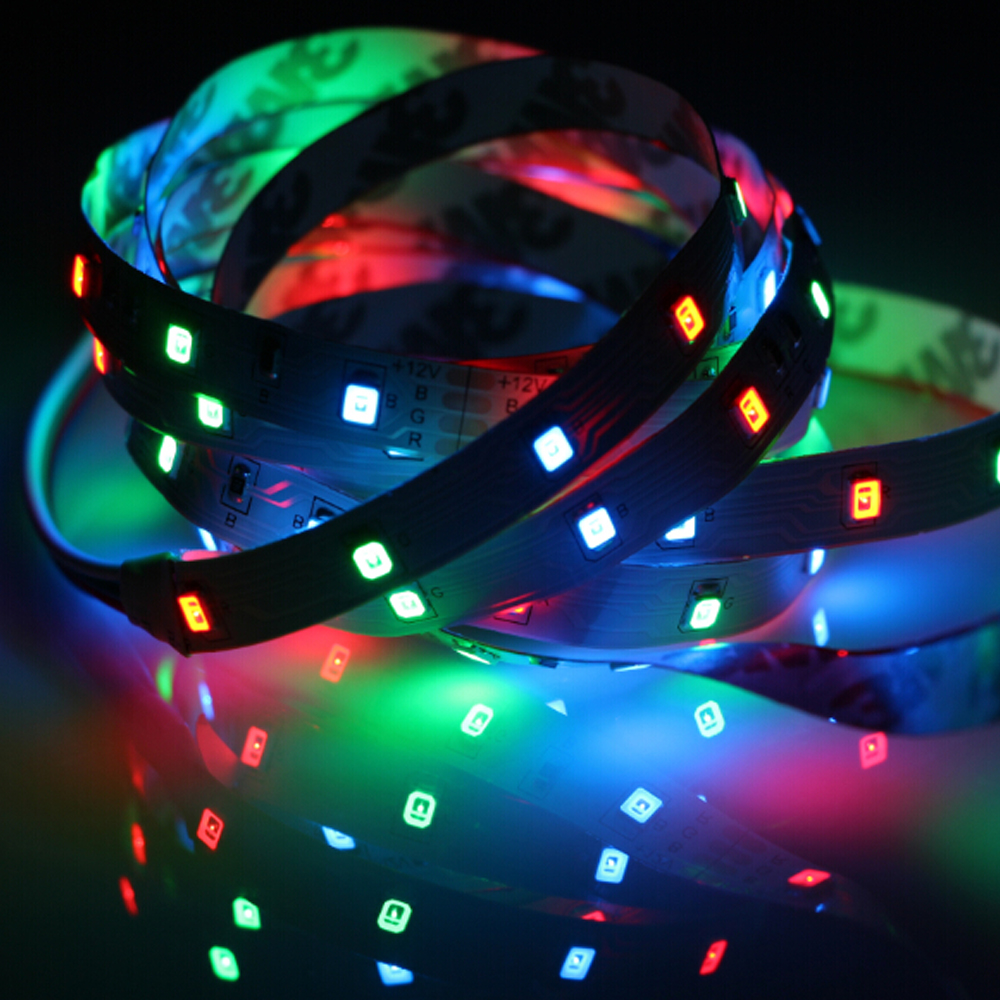 Hot sale 5M Non-waterproof RGB 300 Led Strip Light 3528 SMD DC12V 60Leds/M Led Ribbon Tape rope lighting car strips flexible(China (Mainland))