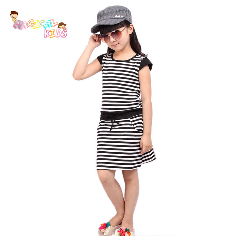High Quality Casual Girl Short-sleeve Dress Children Clothing Baby Girls' Cotton Striped Printed Dresses Fashion Kids Clothes(China (Mainland))