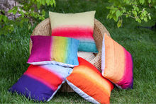 multicolor horizontal stripe pillow cover