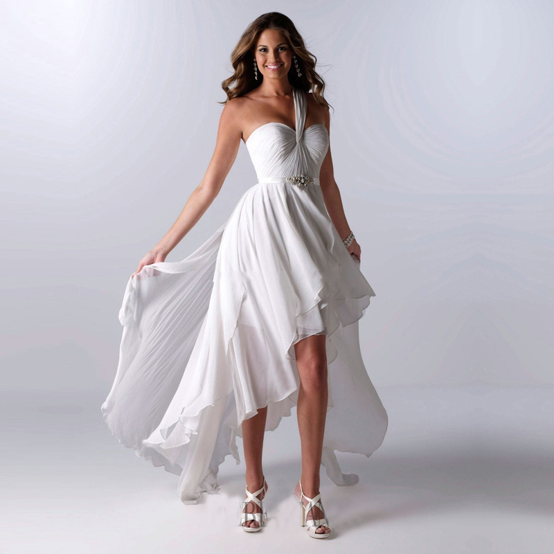 2016 New Arrival Cheap Wedding Dress White Chiffon One Shoulder High Low Short Front Long Back