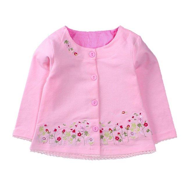 Низкая Цена Весна Осень Детские детская Одежда Детей Детское Девушки С Длинными Рукавами Кардиган Пальто Куртки Вышитые Розовые Цветы