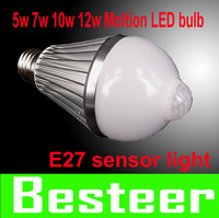 new!! free shipping 5w 7w 10w 12w E27 85-260V LED Infrared Motion Sensor White Light Bulb Lamp motion led bulb