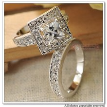 Alloy 18k White Gold Plated CZ Zirconia Wedding Rings Set For Women Classic Jewelry 2015 Engagement