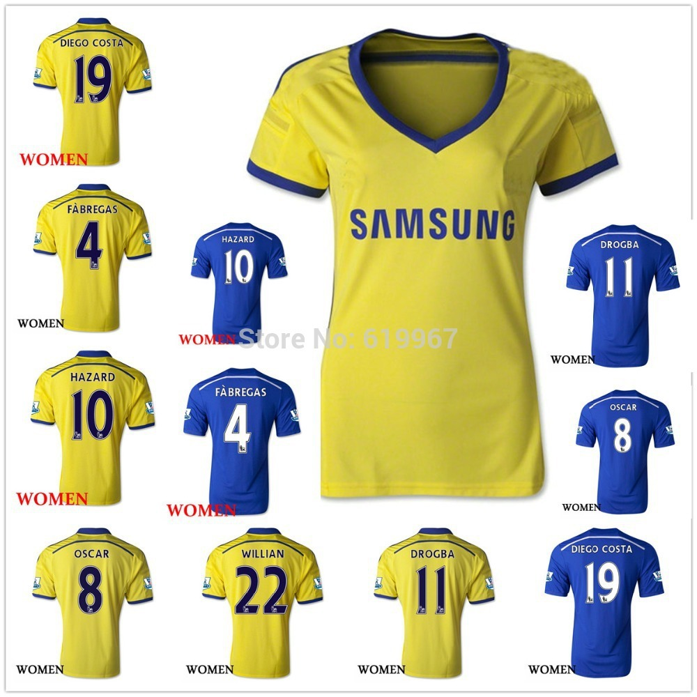 new 2014/15 Chelsea home and away women soccer football jerseys, top 3A+++ thai quality female soccer uniform embroidered logo(China (Mainland))