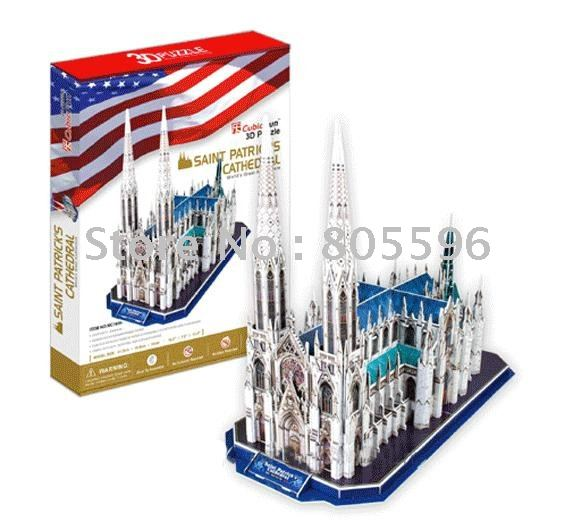 Educational Building toy,3D DIY Models,Home Adornment, Puzzle Toy,Paper model,Papercraft,SAINT PATRICKS CATHEDRAL(China (Mainland))
