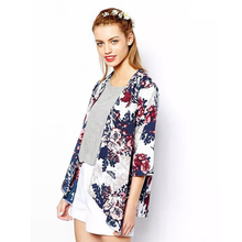 Miss Europe 2016 New Fashion Simple Printed Cardigan Jacket Kimono Jacket womens  summer clothes Cotton flower jacket(China (Mainland))