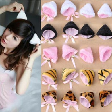 Lovely Velvet Printed Women Girls Barrettes Fashion Cosplay Party Anime Cat Ear Girls Headwear Designer Winter Headwear(China (Mainland))