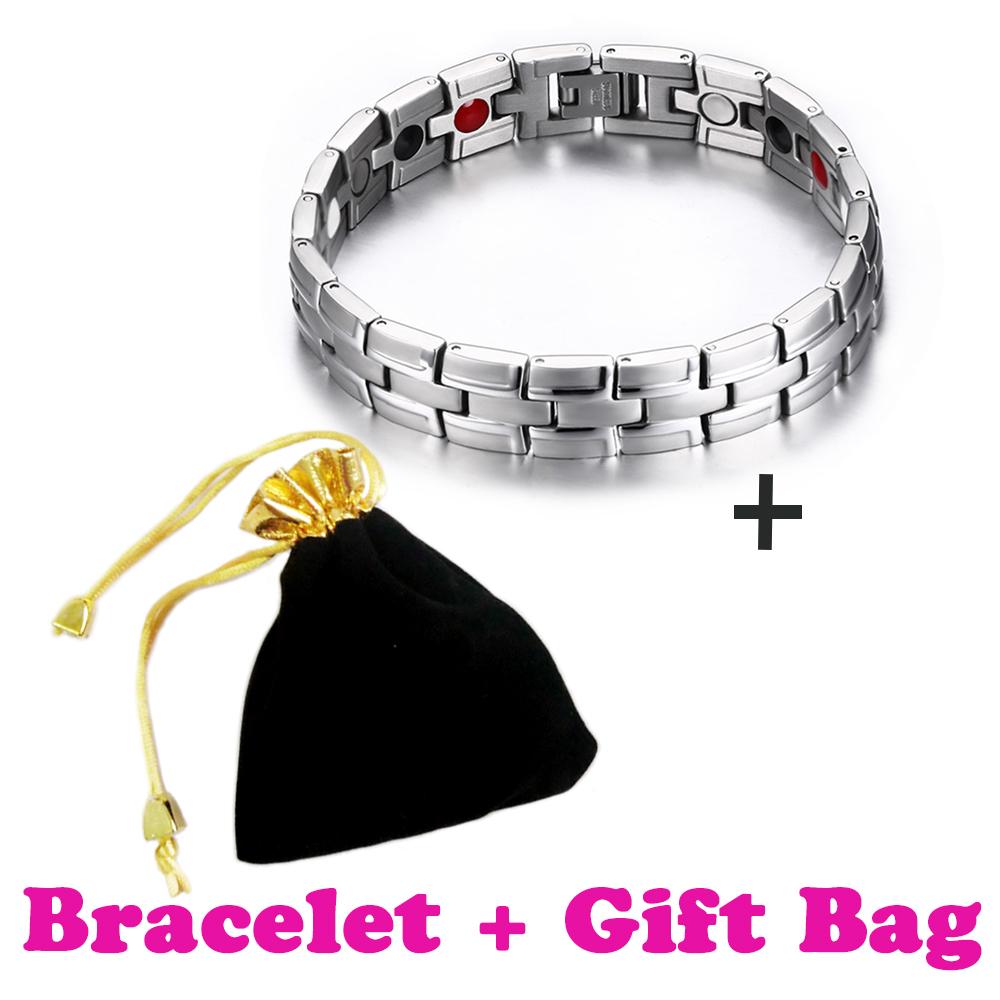 Silver Bio Germanium Energy Magnetic Bracelet&Bangle Health benefited Bracelet Women Men Gift Jewelry Bracelet Femme +Bag(China (Mainland))