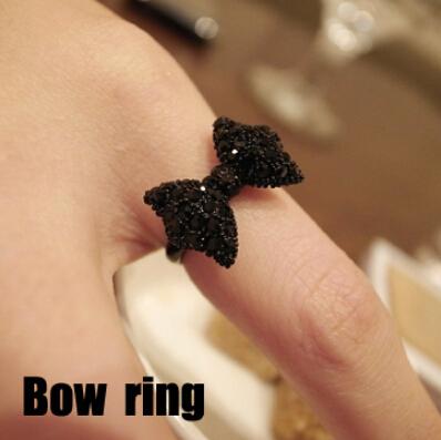 Nz291 мода урожай симпатичные черный горный хрусталь бабочка с бантом кольца ювелирных ...