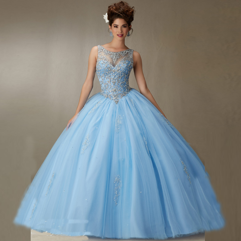 Sexy Open Back Blue/ Pink/Champagne Tank Neck Ball Gown 15 Party Crystal Beading Quinceanera Dress Prom vestidos baratos  -  Michelin Fashion Stars store