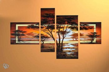 hand-painted wall art Quiet forest hills home decoration abstract african art Landscape oil painting on canvas 4pcs/set framed
