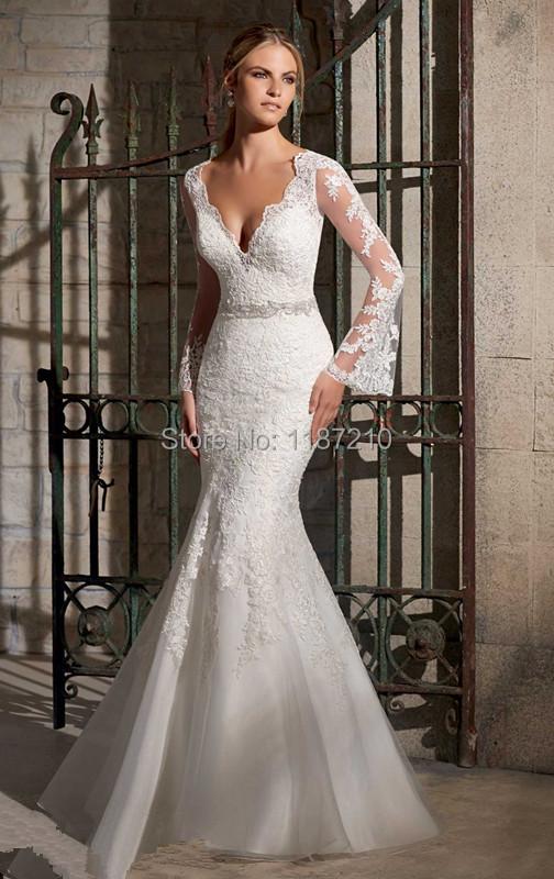 Lace Applique Beaded Floor Length White Mermaid V Neck Bridal Wedding Dresses Court Train Long