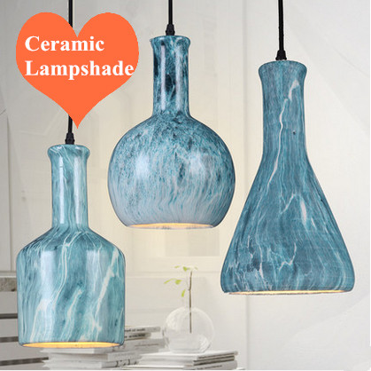 Modern creative pendant lights blue ceramic lampshade hang lamps E27 LED lamp for pavilion&cafe&porch&stairs&studio CYDD046(China (Mainland))