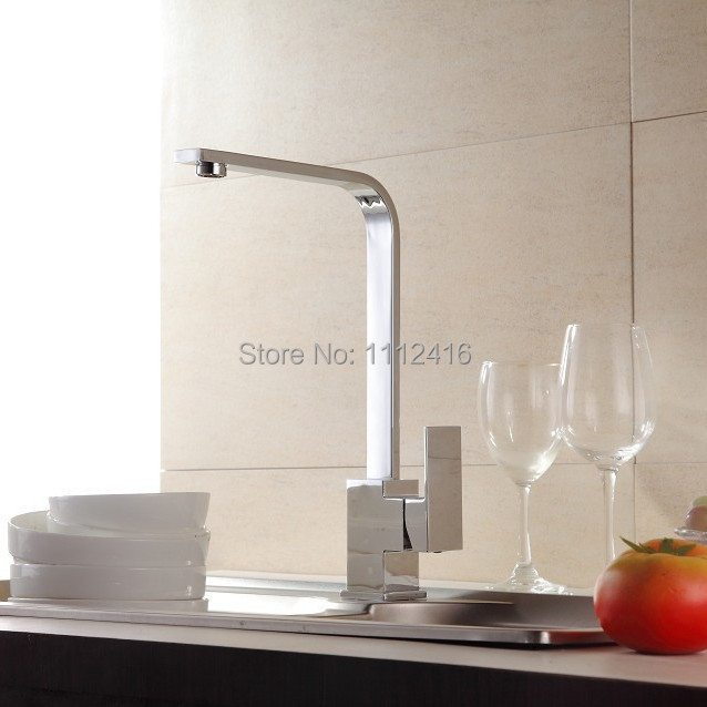 Sus304 Stainless Steel Kitchen Faucets Brushed Mixer Water: SUS 304 Stainless Steel Square Type Kitchen Faucet Water