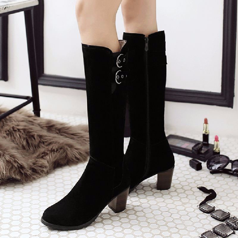 Big Size 34-43 2016 Nubuck Female Footwear Knee Boots Autumn Winter Boots Buckle Charm Thick Heels Fashion Shoes Woman