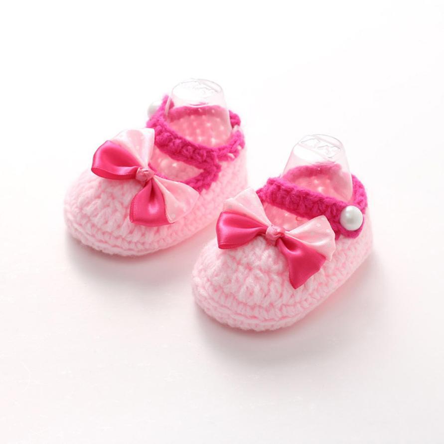 Délicat bébé filles première Walkers princesse chaussures Crochet main tricot chaussures nor5915(China (Mainland))