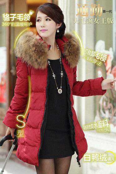 2013 New Fashion Womens Winter Fur Collar Thick Coat Slim Outerwear Warm Zipper Parka Down Jackets Gift Free Shipping