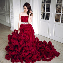 2016 Luxury Burgundy Red Empire Wedding Dresses Plus Size Maternity Bridal Gowns Long Train For Photosession Tulle Z199(China (Mainland))
