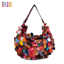 New Stylish Genuine Leather Women Handbags Brand Ladies Tote Patchwork Bags Popular Handbags Free Shipping(China (Mainland))