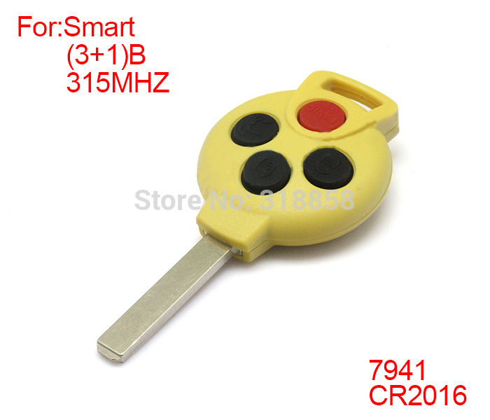 Yellow Replacement Remote key Keyless Entry Fob Transmitter 3+1 Button For MERCEDES BENZ MB Smart Fortwo 315MHz 7941 Chip<br><br>Aliexpress