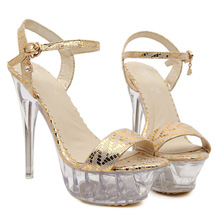 2016 New Fashion High Heeled Thin Heels Open Toe Lace up Sequin Heels Sandals Shoes Women Pumps Shoes 14cm Sexy Pumps Heels(China (Mainland))