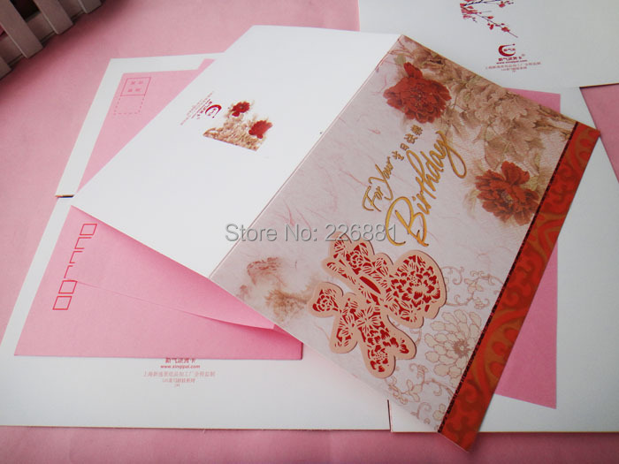 Chinese Style Gold Print Flower Bird Painting Birthday Card With Envelope Color Randomization(China (Mainland))