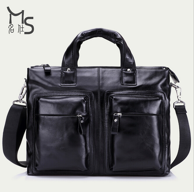 2015 New Luxury Brand Vintage Genuine Leather Men Big Business Handbags Cowhide Business Briefcases For Men Laptop Bag(China (Mainland))