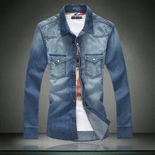 Men Jeans Shirt Discount 100% Cotton Men Casual Shirt Slim Fit Long-Sleeves Denim Clothing Free Shipping DJ00(China (Mainland))