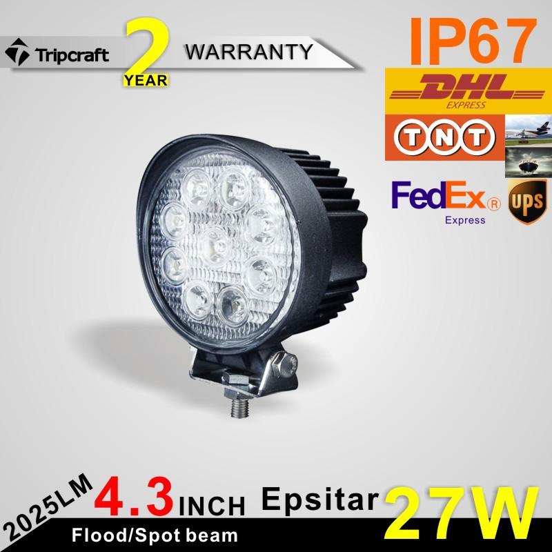 4'' Round 27W LED Work Lights For Truck 4X4 Accessories Off Road LED Light Spotlight 12V 24V Car SUV ATV Led Tractor Work Light(China (Mainland))