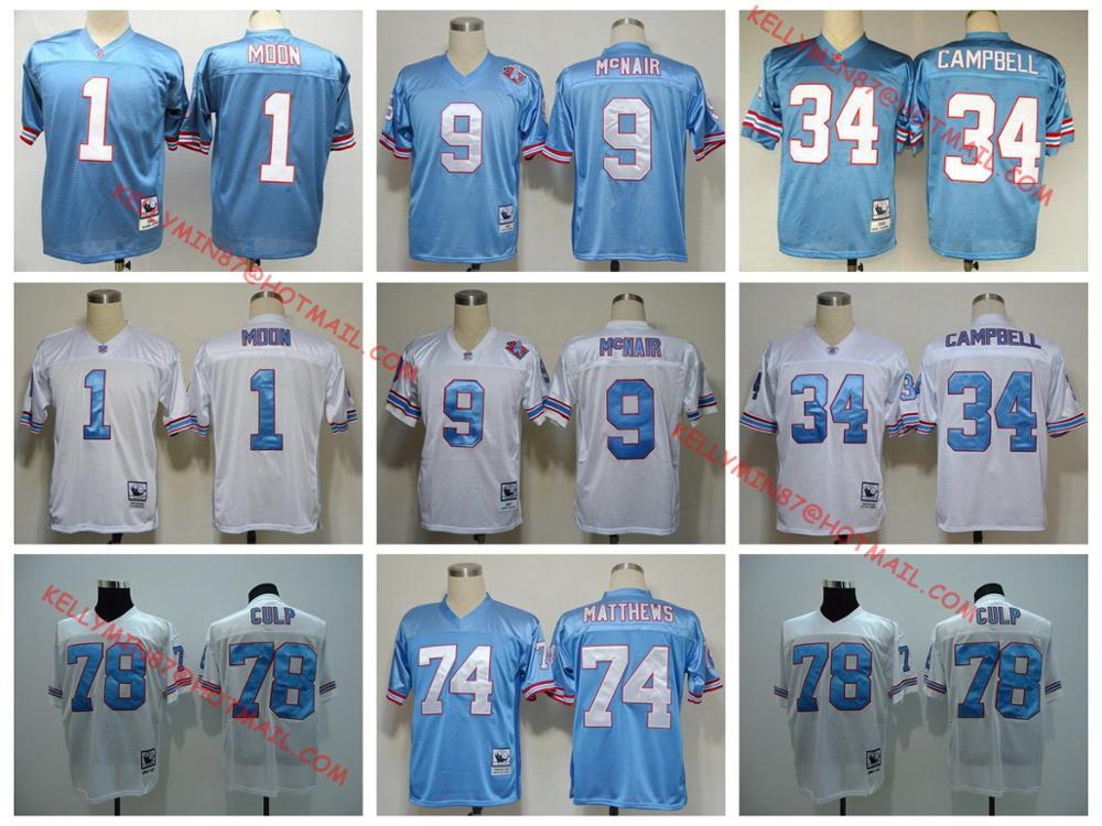100% Stitiched,Houston Oilers,Robert McNair,Warren Moon,Curley Culp,Bruce Matthews,Earl Campbell,Throwback for men(China (Mainland))