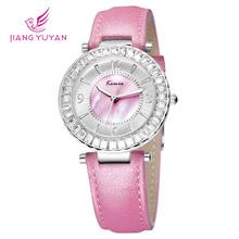 Relojes de marca de cuero mujer KIMIO moda casual vestido reloj de cuarzo reloj analógico cristal del diamante del encanto comprar directo de china