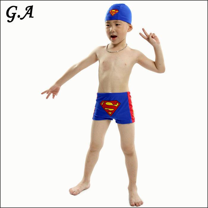 New 2015 Brand Boy Swimwear Child Kids Swimsuits Swimming Trunks + Cap Super Man Swimwear (BS002)(China (Mainland))