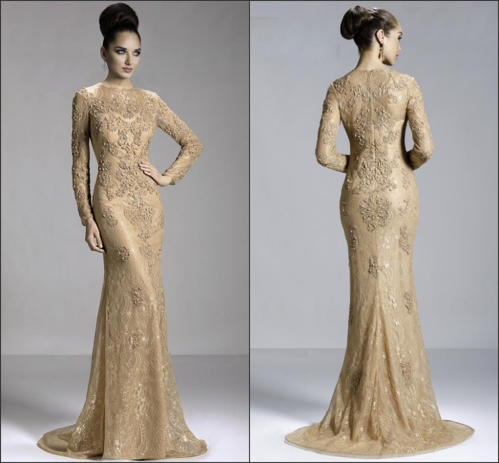 fashion vestidos gold long sleeve evening dress merimaid