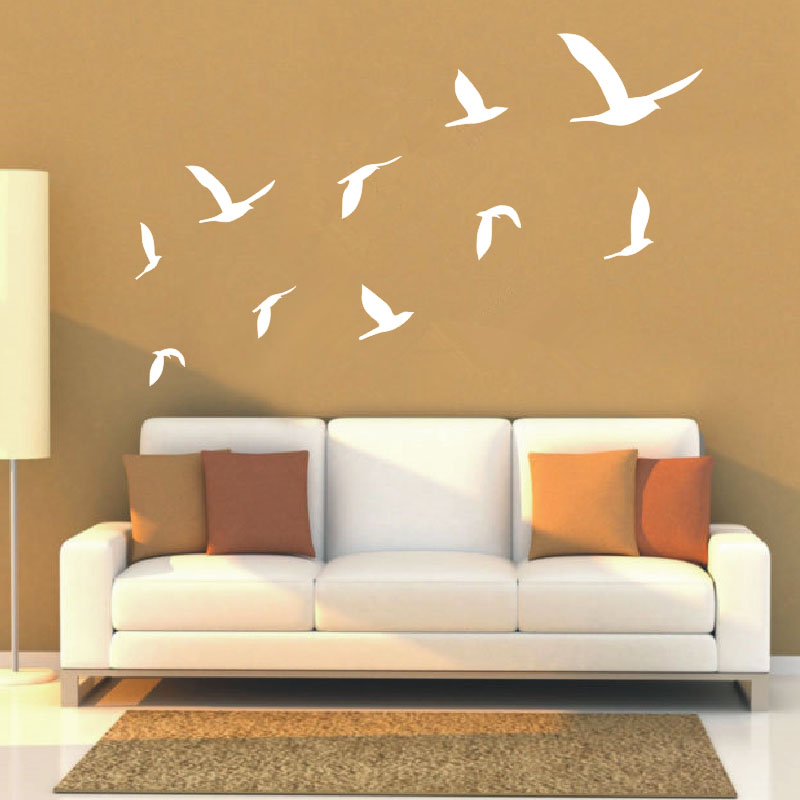 2016 Hot Ten Geese Flying Decals Living Room Wall Art