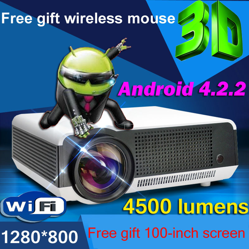 Free Gift Screen Mouse 4500Lumen 1080P Android WiFi Smart Led 3D Home theater TV Projector Projektor Full HD Video Beamer - Aok Display Co., Ltd. store
