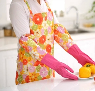 Housekeeping apron Rural princess skirt PVC waterproof and oil domestic clean overall Have a pocket(China (Mainland))