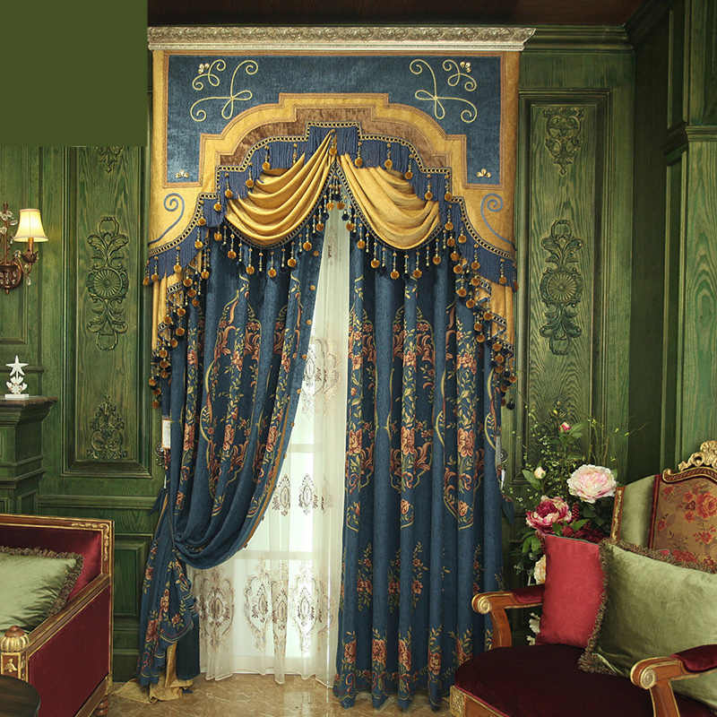 custom curtains Retro European chenille jacquard fabric room luxurious curtain thicken cloth blackout curtain tulle(China (Mainland))