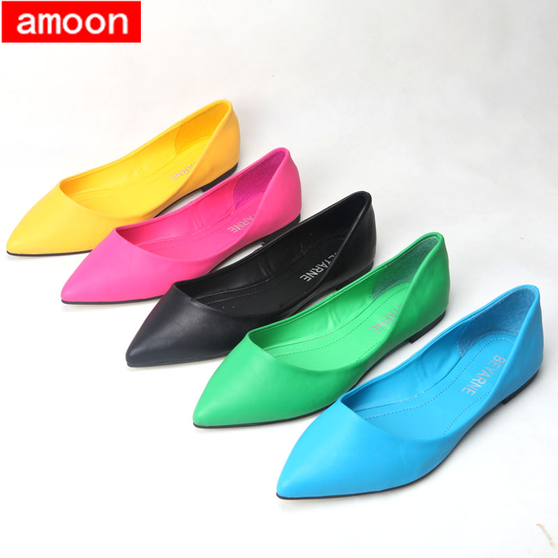 Amoon / Woman Girl Shoes 2015 New Summer Autumn Solid Rubber Pointed Toe Flat A08/ Black Candy Colors/ 6 Plus 40 Size - ^^ Flats and More store