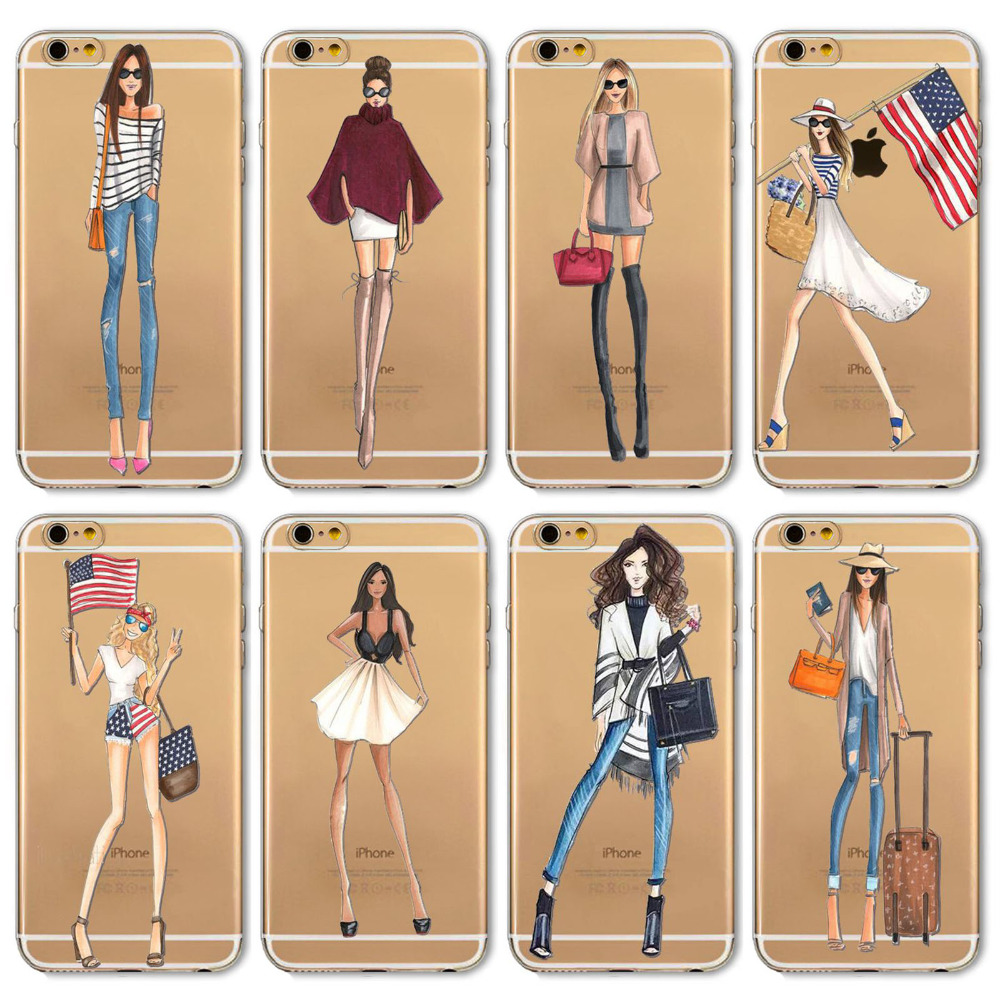 Case Cover Case For iPhone 6Plus and 6s Plus 5.5inch Beautiful Girl Shopping Design Transparent TPU Fashion Cell Phone Cases(China (Mainland))