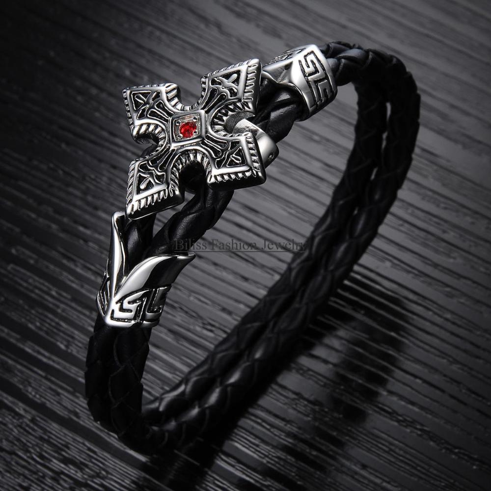 """Vintage 7.76"""" Length Punk Men Bracelet Double-Strand Braided Leather Bracelet Bangle Wristband pulseira homens(China (Mainland))"""