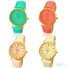 Women's Fashion Geneva Roman Numeral Faux Leather Quartz Analog Wrist Watch
