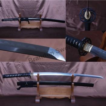 Full Black Japanese Swords Samurai Katana Full Tang Folded Damascus Steel clay tempered No Bo Hi Sharp Knife