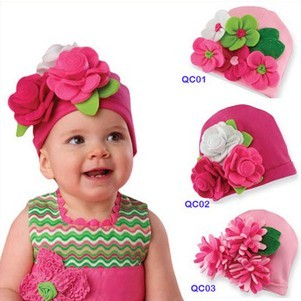 infant hair flower children christmas big flower aroma piles of hat baby cotton hat pocket style(China (Mainland))