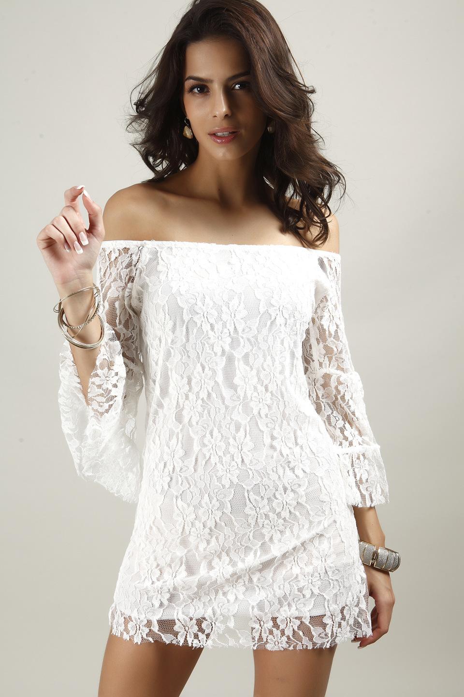 Free shipping Summer sexy women good quality Brand new Fashion female word shoulder slash half sleeve white lace hollow dress(China (Mainland))