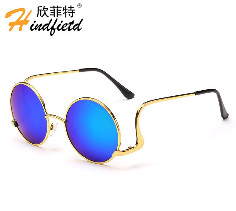 New Arrival discount cheap china sunglasses Metal copper coating vintage round frame sun glasses for women men Unisex with Box(China (Mainland))