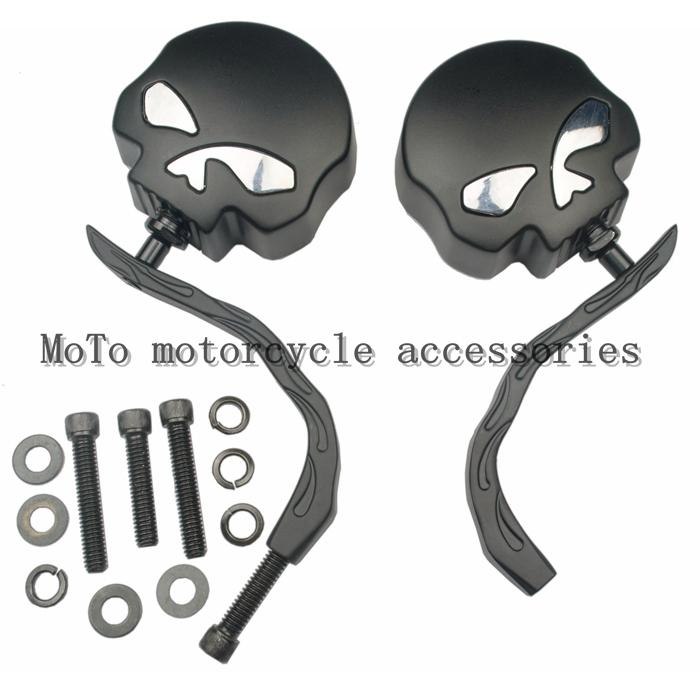 Элементов-refires штук металл зеркало заднего вида отражающее зеркало череп зеркало заднего вида для Harley XL883 / 1200 Steed400 / 600 Magena250