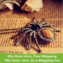 Hot Selling Fashion Design Vintage Personality Crystal Spider Long Chain  Necklace for Women  (China (Mainland))