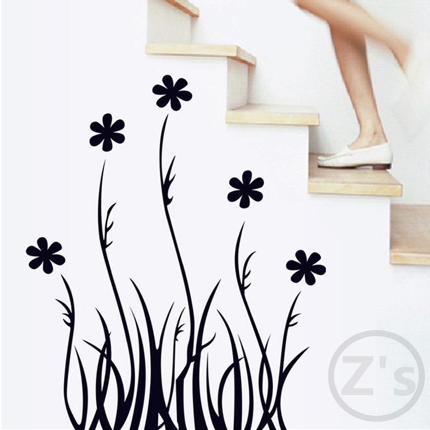 flower wall sticker flower home decor black adhesive pastoral decal plant mural large removable vinyl ay7073(China (Mainland))