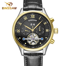 Fashion Luxury Brand BINSSAW leather Tourbillon Watch Automatic Men Wristwatch Men Mechanical steel Watches relogio masculino(China (Mainland))
