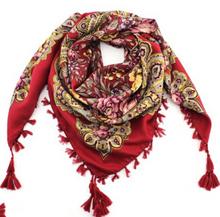 2016 Hot Sale Autumn Winter Fashion Ladies Tassels Big Square Scarf Floral design Women Brand shawl 15 colors 90X90cm(China (Mainland))